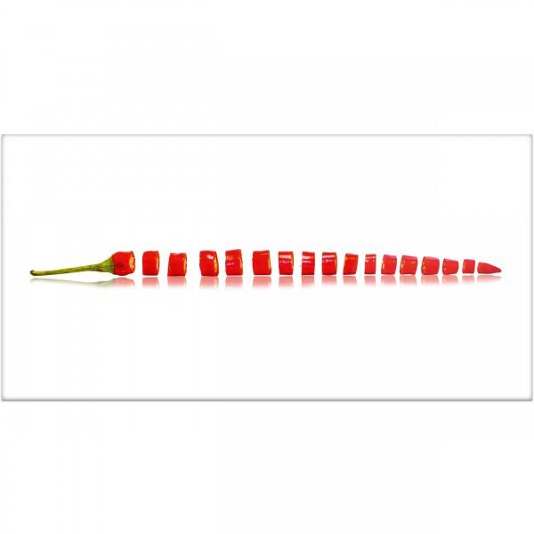 """Küchenrückwand """"Chili rot geschnitten"""" - Spritzschutz mit Motiv aus Aluverbund"""
