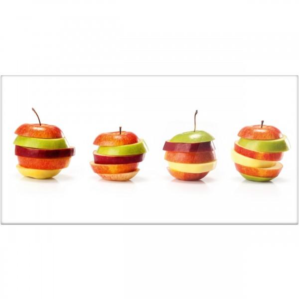 """Küchenrückwand """"Apfelmix in Scheiben"""" - Spritzschutz mit Motiv aus Aluverbund"""