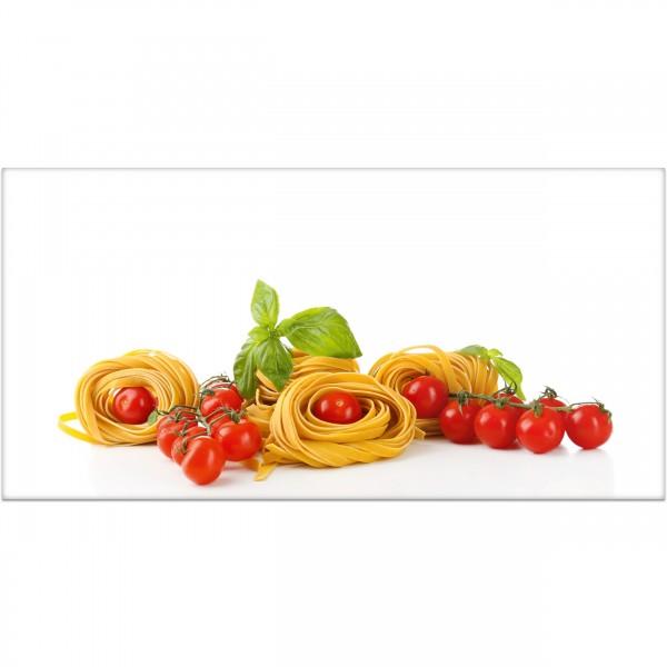 Spritzschutz Spaghetti mit Tomaten 100 x 50 auf Aluverbund-versandkostenfrei