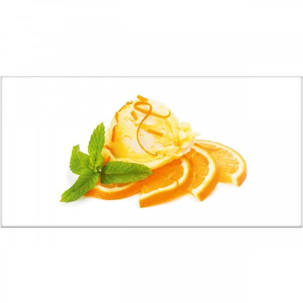 """Küchenrückwand """"Orangeneis mit Frucht"""" - Spritzschutz mit Motiv aus Aluverbund"""