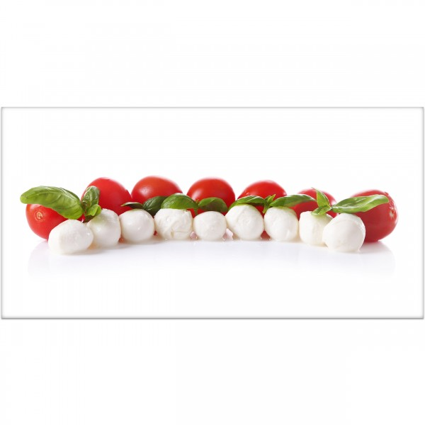 """Küchenrückwand """"Tomaten mit Mozarella & Basilikum"""" - Spritzschutz mit Motiv aus Aluverbund"""